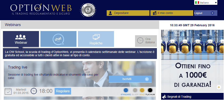 webinar segnali opzioni binarie optionweb